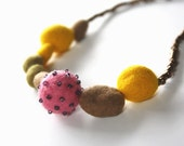 Felted yellow brown pink mustard necklace, for her, fall fashion, ooak, gift idea, lightweight, original, felt, bright, embroidered