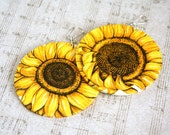 Big cecoupage Yellow Sunflowers Earrings, sterling silver, handmade, ooak, fall fashion, for her, gift idea, feminine, organic, original