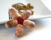 Pink Brown Red Felted Flower Necklace Pendant chain, perfect gift, teen girl, feminine, lightweight, bright, ooak, fall fashion, trendy