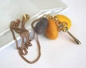 Skeleton key yellow, orange, brown, necklace chain, perfect gift, elegant, feminine, lightweight, classic, ooak, fall fashion, trendy