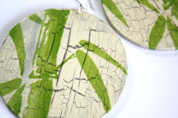 decoupage Green Bamboo Earrings, wood, sterling silver, handmade, ooak, fall fashion, for her, gift idea, feminine, organic, original