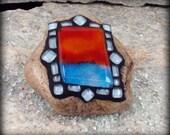 Sun & Surf 3 Mosaic Rock Paperweight / Garden Stone