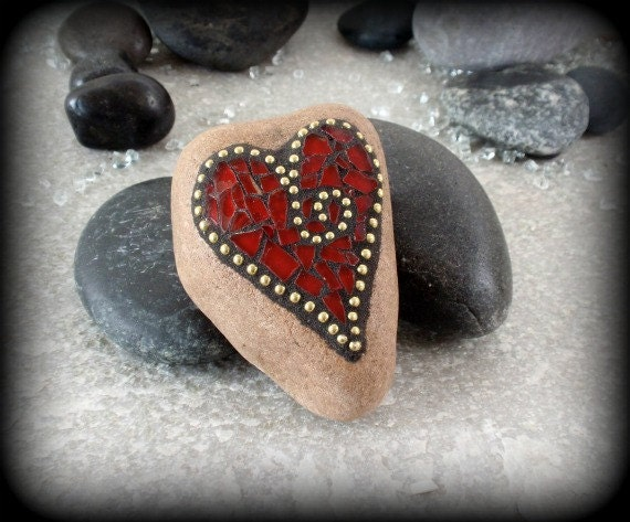 Red and Gold Heart  Mosaic Paperweight / Garden Stone
