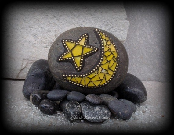 Yellow Crescent Moon And Star Mosaic Rock By Chrisemmertmosaic