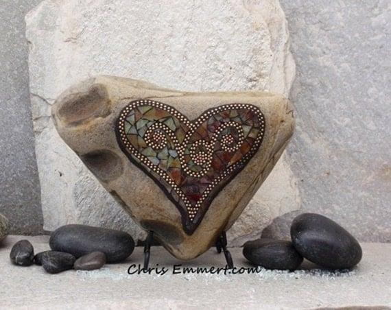 Large Sienna Swirl Heart - Mosaic Rock / Garden Stone