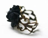 Black Rose Ring - Gothic Steampunk Adjustable Filigree