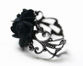 Black Rose Ring in Silver - Adjustable