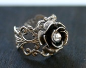Silver Rose Ring - Victorian Ring - Adjustable