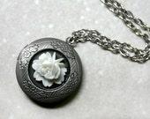Antique Silver White Rose Locket Necklace