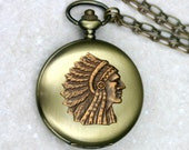 Tribal Indian Chief Pocket Watch Necklace - Mens Unisex