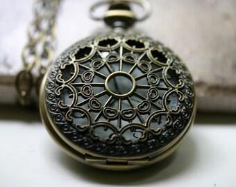 Steampunk Pocket Watch Necklace - Mens Unisex