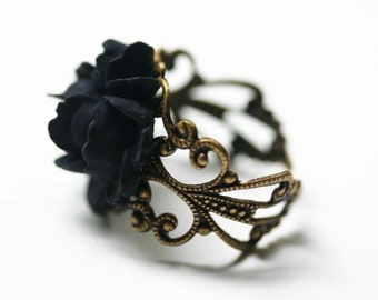 Black Rose Ring - Gothic Steampunk Adjustable Filigree