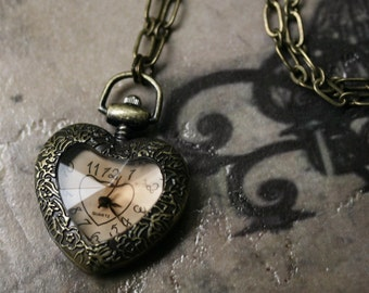 Victorian Heart Pocket Watch Necklace