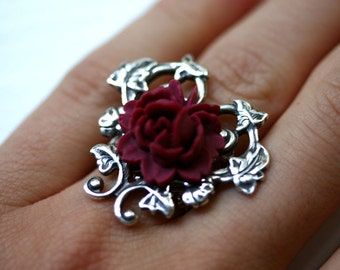 Alice in Wonderland Ring - Red Rose and Silver