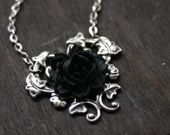 Black Rose Necklace - Gothic Steampunk Necklace