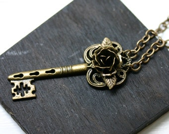 Skeleton Key Necklace with Brass Rose