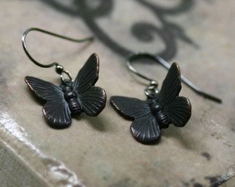 Black Butterfly Earrings - Goth Moth