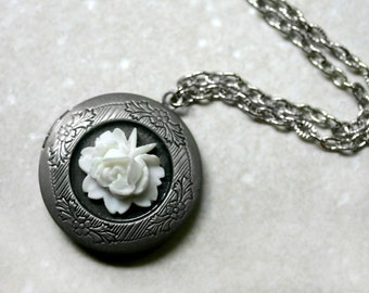 Antique Silver White Rose Locket Necklace