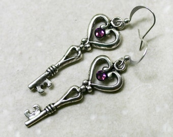 Skeleton Key Earrings with Amethyst Swarovski Crystals