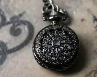 Pocket Watch Necklace - Gunmetal Black