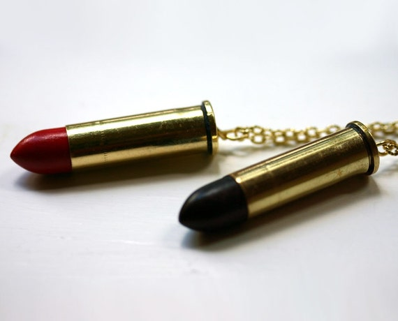 Steampunk Bullet Lipstick Necklace - Red or Black