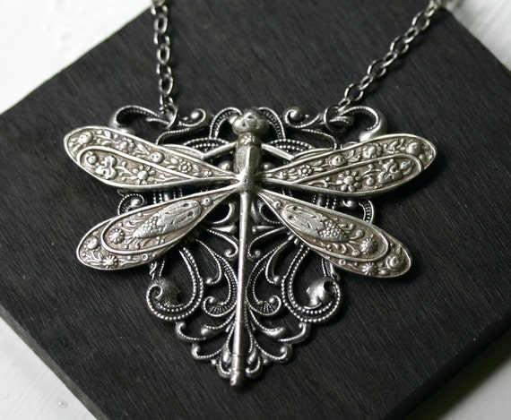 Antiqued Silver Dragonfly Shield Necklace