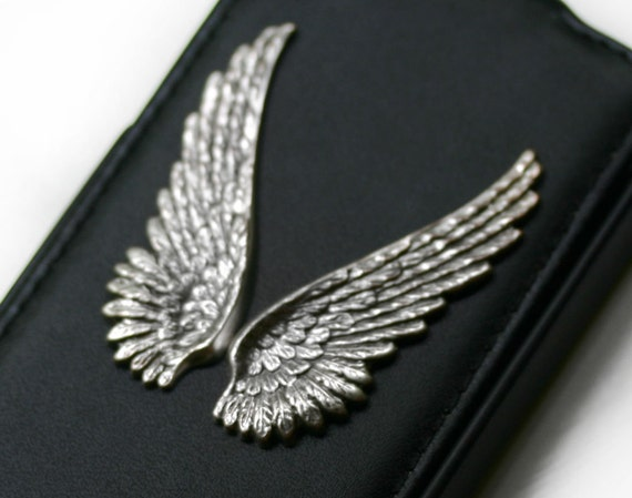 iPhone 4 Case with Silver Angel Wings - Faux Leather also fits iPhone 4S