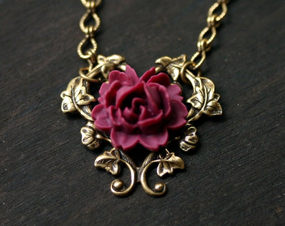Red Rose Necklace - Antique Gold