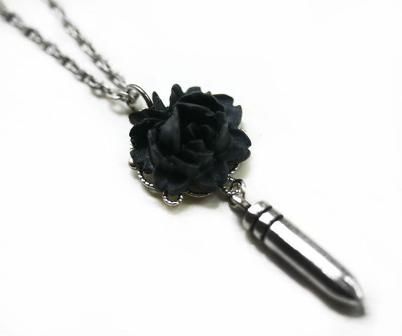 Gothic Black Rose Bullet Necklace