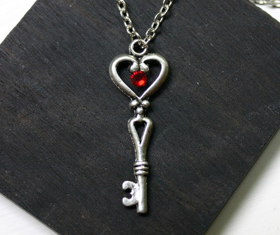 Skeleton Key With Crystal Key to My Heart Necklace