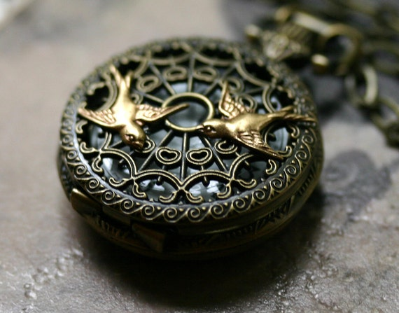 Pocket Watch Necklace with Birds