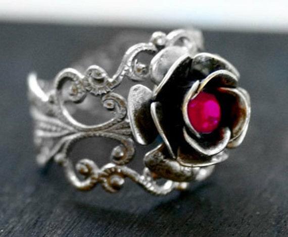 Pink Rose Ring - Swarovski Crystal