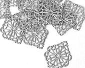 50 pcs Filigree Wrap Pendant, 22x16mm Antique Silver Filigree Connector Filigree Diamond Focal Pendant C20-B007p