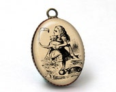 2 pcs Alice in Wonderland Fairytale Fairy Tale Pendant Charm, Picture Image Glass Resin Pendant Charm, 18x25mm, 25x18mm, A38-03-007