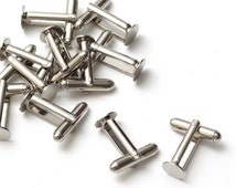 50 pcs (25 pairs) Silver Cufflink Cuff Link Blank Backs Base, Findings, Glue Pad 8mm, B1-001