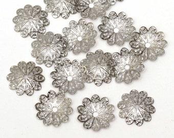 50 pcs Silver Beadcap Bead Caps, Flower Bead Caps, Filigree Bead Caps, Connector, 18mm C9-005