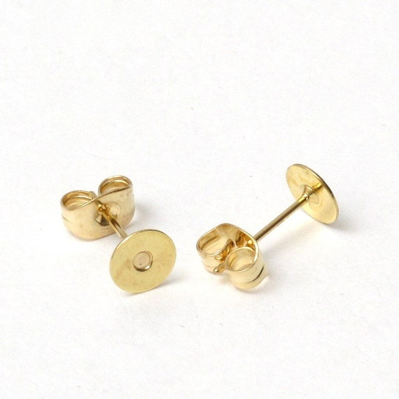 10 pairs Gold Stud Earrings 6mm Pads with Earnuts, Earring Posts, Earring Stud, Earring Stoppers, Earring Backs, Cabochon Setting A3-007-S1