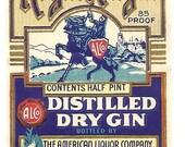 Royal Knight Dry Gin Vintage Label, Half Pint, 1930's