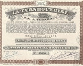 La Turnhoutoise Stock Vintage Original Certificate (brown),1940's