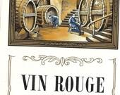 Vin Rouge Wine Vintage Label, 1940s