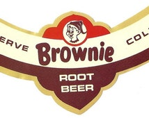 Brownie Root Beer Neck Label, 1960's