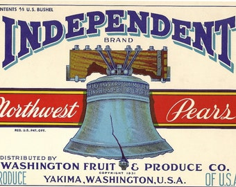 Independent Brand Pear Vintage Crate Label, 1940's