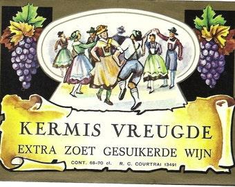 Kermis Vreugde ( Wine ) Label, 1930's