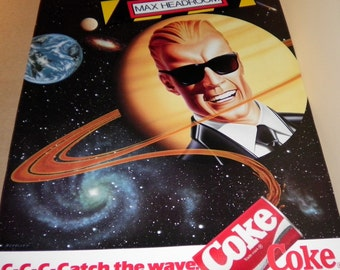Max Headroom Vintage 1986 Coke Poster c-c-c-c-Catch the Wave