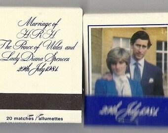 Charles and Diana Royal Wedding Vintage Matchbook, 1981