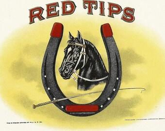 Red Tips Vintage Embossed Inner Cigar Label, 1920's