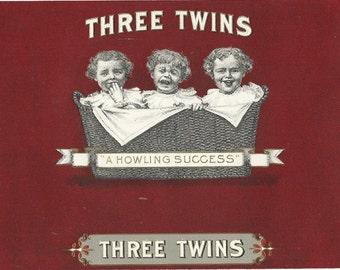 Three Twins Embossed Inner Vintage Cigar Label, 1920's