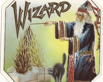 Wizard Embossed Outer Vintage Cigar Label, 1910's