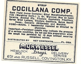 Cocillana Syrup Compound Morphine Pharmacy Label,1930's