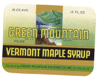 Green Mountain Vermont Maple Syrup Vintage Label, 1940's
